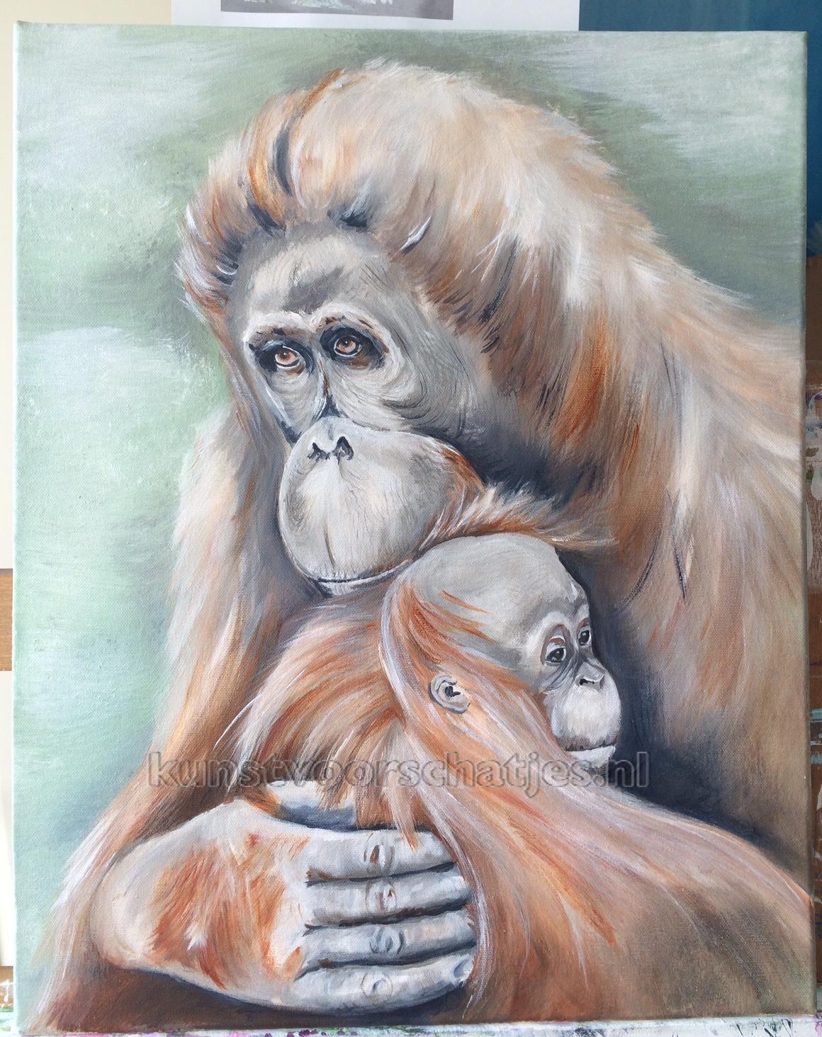 Schilderij Apen