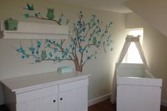 Boom met uilen blauw mintgroen