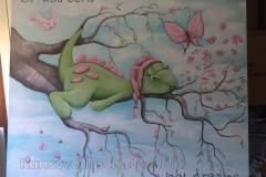Dirk het draakje paneel tak bloemen Vlinder