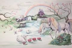 Eenhoorns-met-regenboog-en-kasteel