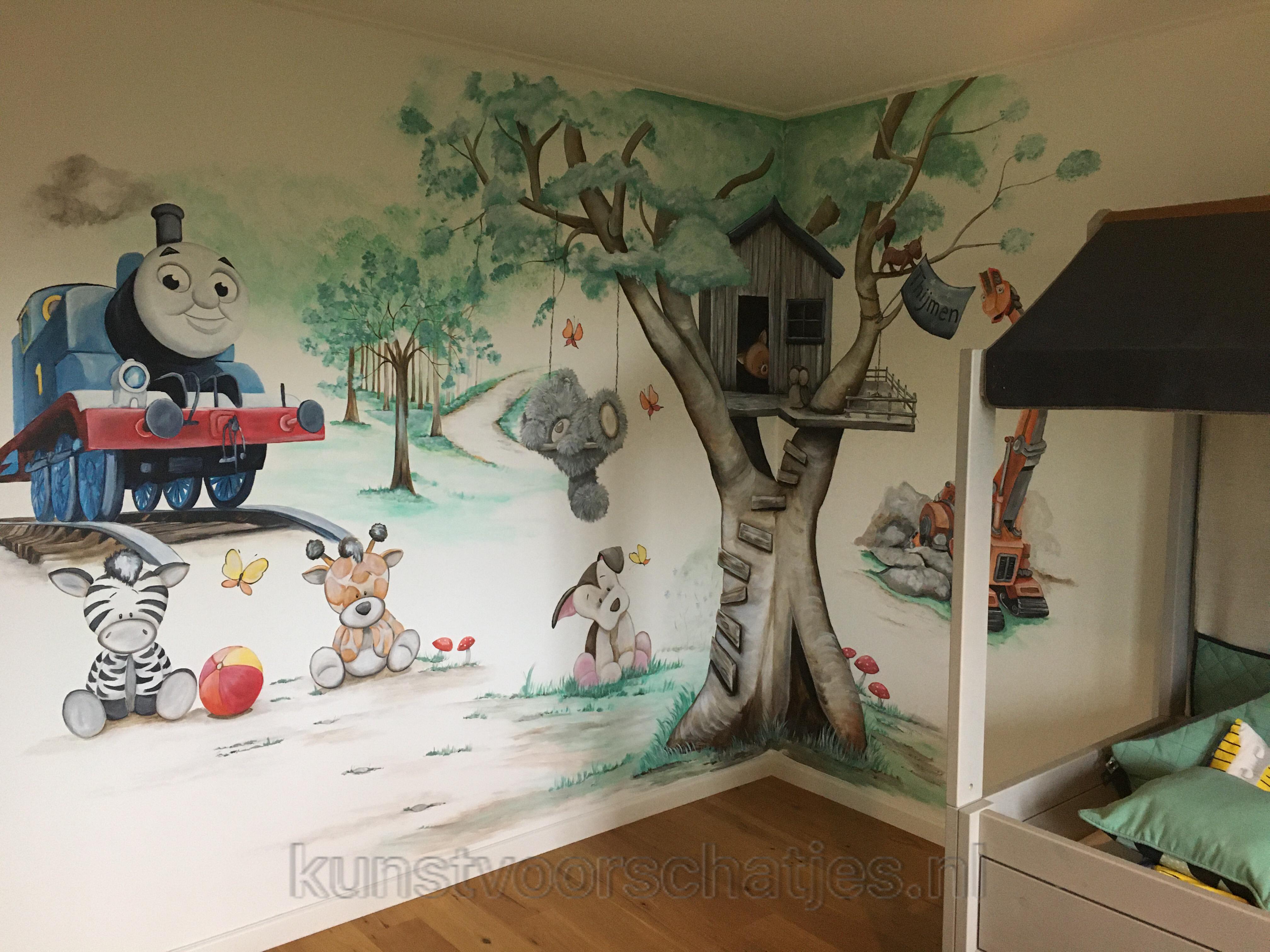 Muurschildering-boomhut
