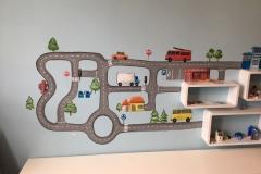 Autobaan op de muur