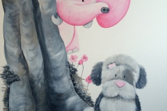 Me to you boom roze met olifant hond closeup