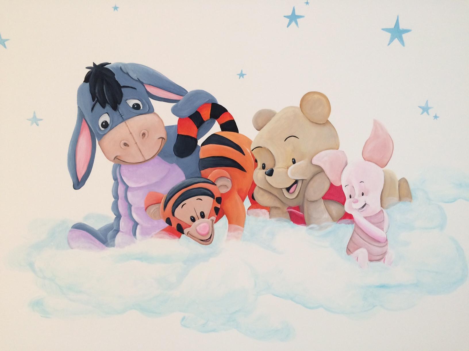 Winnie de Poeh babies op wolk